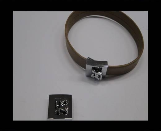 Zamak magnetic clasp MGL-229-10*2mm Steel Silver
