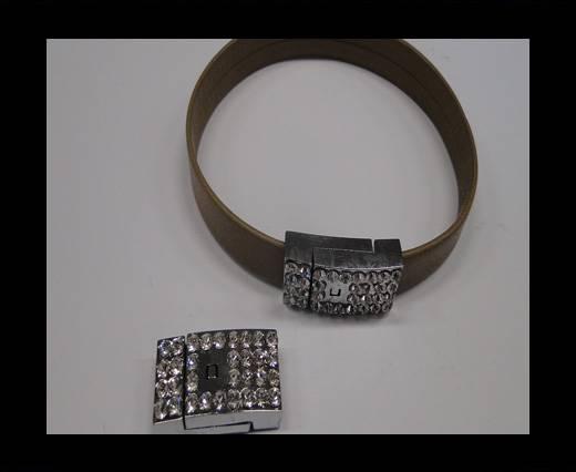 Zamak magnetic clasp MGL-233-10*3mm Steel Silver
