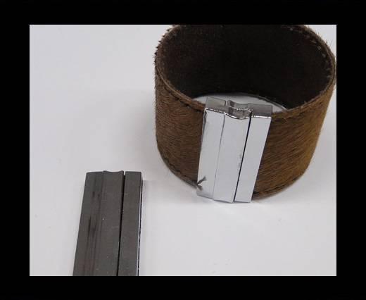 Zamac magnetic clasp MGL-235-40*3mm Steel Silver