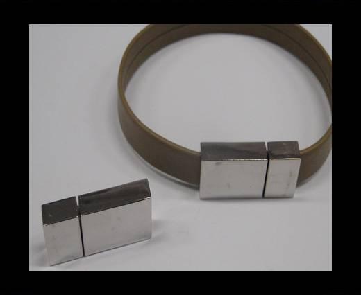Zamak magnetic clasp MGL-244-10*2.5mm Steel Silver