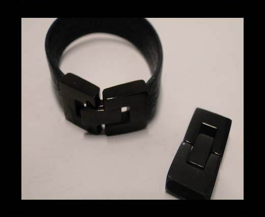 Stainless Steel Snap Lock Clasp - MGST-14-10*2,5mm-Black