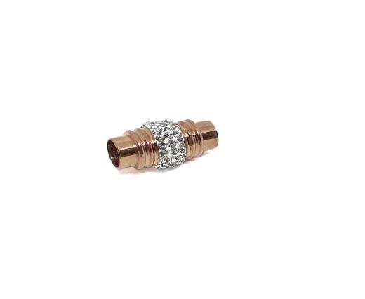 Stainless Steel Magnetic Clasp,ROSE CRYSTAL,MGST-191-6mm-01