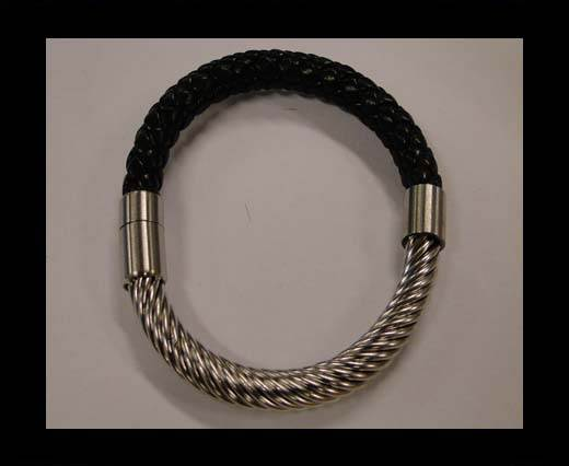 Stainless Steel Half Cuff Bracelet Magnetic Clasp MGST-231-6mm