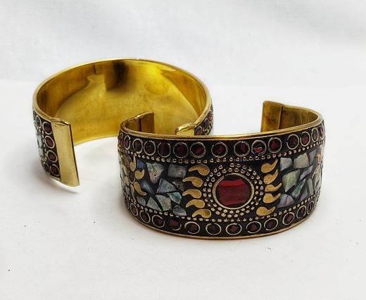 Mosaic brass cuff Style 8 - 4 cm