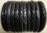 imitation nappa leather 4mm Snake-Style-Oblong-Black