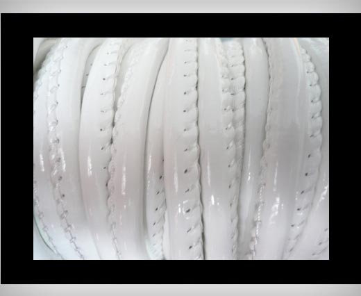 Buy Faux nappa leather 6mm- Glossy-White at wholesale prices