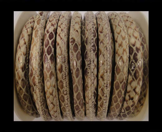 Buy faux nappa leather 6mm Snake-Style-Oblong-Brown at wholesale prices