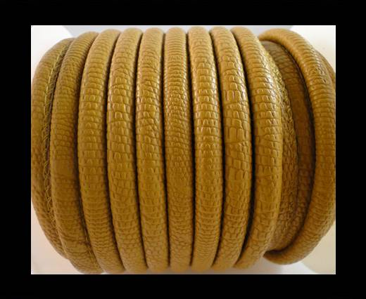 Buy Faux nappa leather 6mm Crocodile-Style-Yellow at wholesale prices
