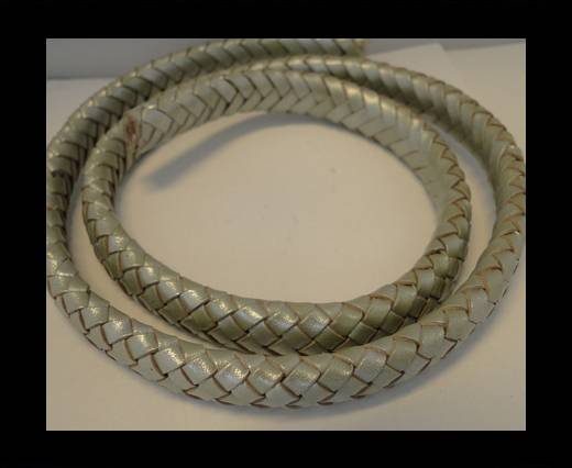 Oval Regaliz braided cords - 10mm-Metallic Olive Green