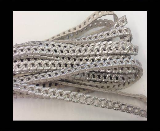 Nappa Leather - chain style - 5mm - Silver Metallic