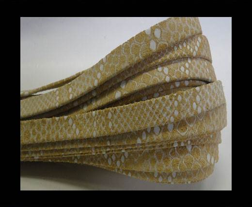 Nappa Leather Flat-10mm-Snake Raza White Beige