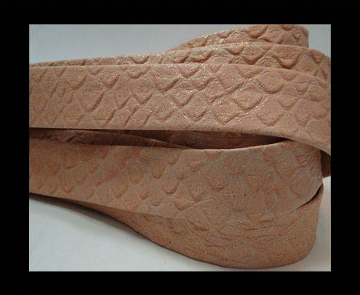 Nappa Leather Flat-snake patch style old pink-20mm