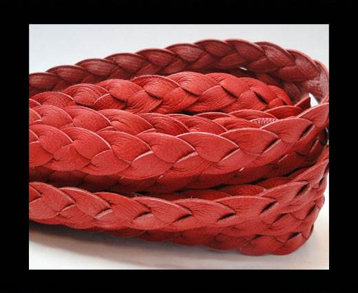 Nappa Leather Flat Braided Red - 12mm