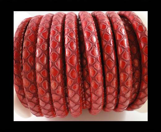 faux nappa leather 6mm Snake-Skin - Round Red