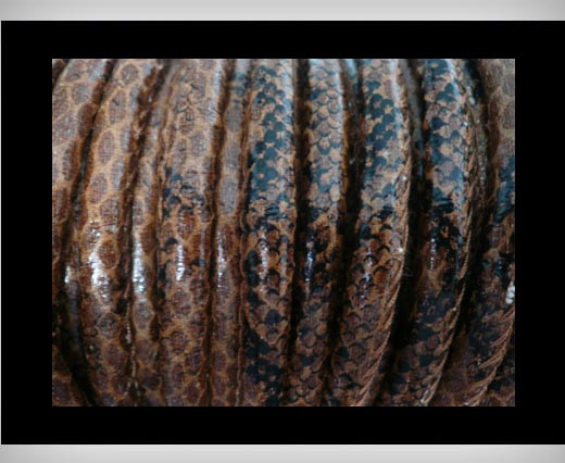faux nappa leather 6mm Snake-Style -Brown