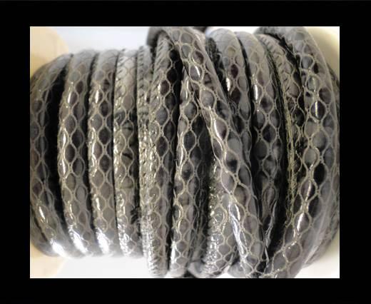 faux nappa leather 6mm Snake-Style -Oblong Black