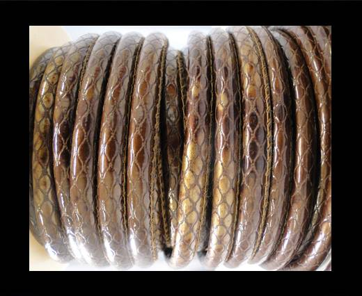 faux nappa leather 6mm Snake-Style -Oblong Coffee