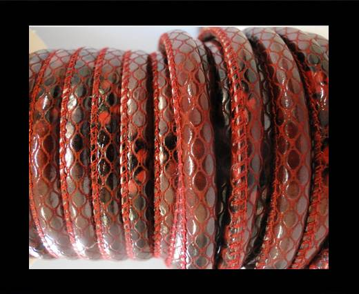 faux nappa leather 6mm Snake-Style -Oblong Red