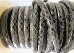 imitation nappa leather 4mm Snake-Style -Oblong Black