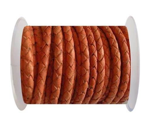 Round Braided Leather Cord SE/B/Neon Orange-4mm