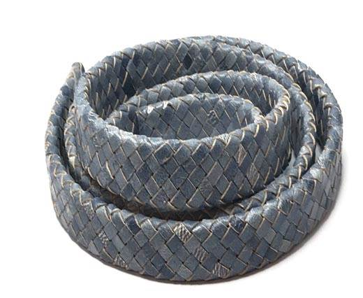 Oval Braided Leather Cord-19*5mm-se_ white base blue