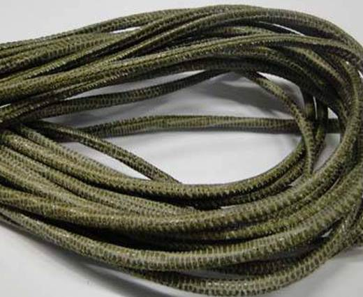 Round stitched nappa leather cord 2.5MM-Lizard style-Olive