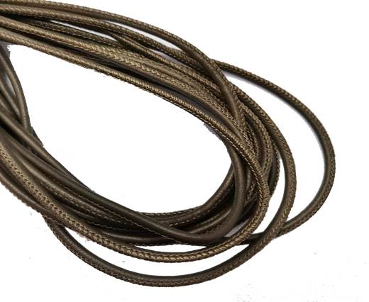 Round Stitched Leather Cord - 3mm - OLIVE GREEN
