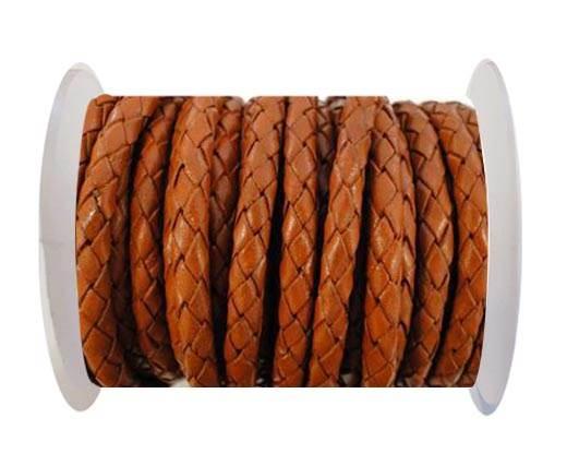 Round Braided Leather Cord SE/B/Neon Orange-5mm