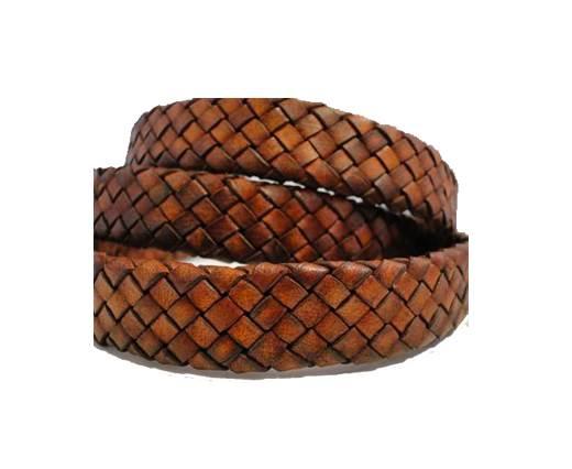 Oval Regaliz braided cords - Vintage Brown