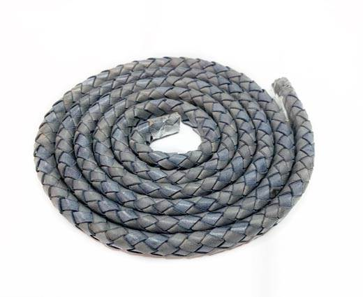 Oval Braided Leather Cord-19*5mm-VINTAGE BLUE