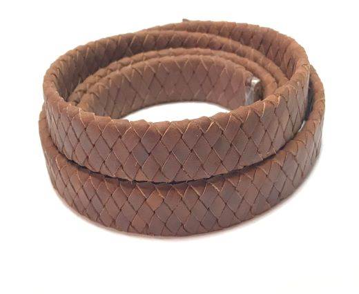 Oval Braided Leather Cord-15mm-dark natural