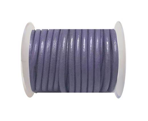 Round Leather Cord - 5mm - Purple