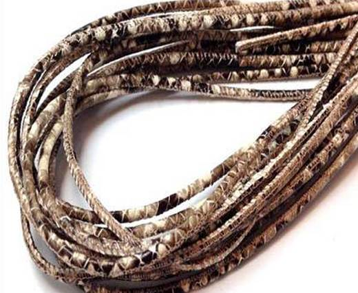 Buy Round stitched nappa leather cord 3mm-Python Brown at wholesale prices