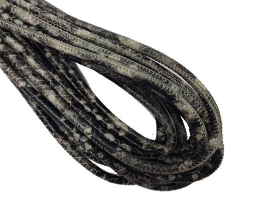 Round Stitched Nappa Leather Cord-4mm-python dark grey