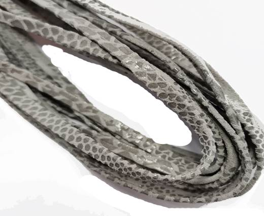 Flat Nappa Leather cords - 5mm - python grey
