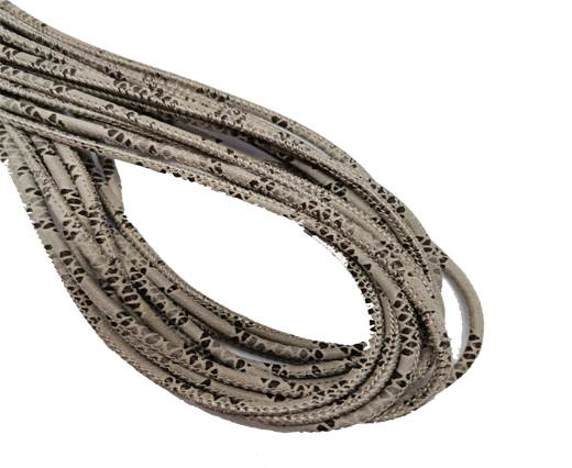 Round Stitched Leather Cord - 3mm - PYTHON STYLE - BEIGE