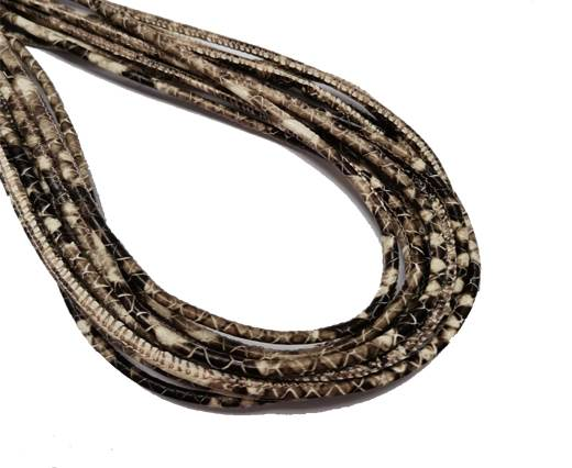 Round Stitched Leather Cord - 3mm - PYTHON STYLE - BROWN