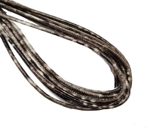 Round Stitched Leather Cord - 3mm - PYTHON STYLE - DARK BROWN