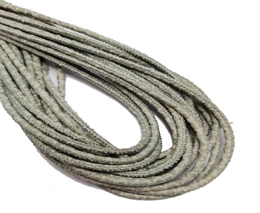 Round Stitched Leather Cord - 3mm - PYTHON STYLE - GREY