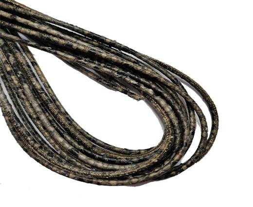 Round Stitched Leather Cord - 3mm - PYTHON STYLE - LIGHT OLIVE