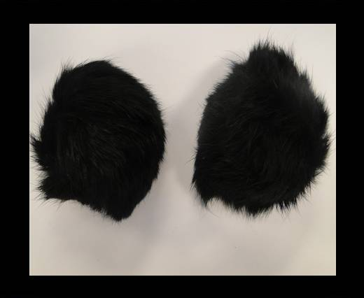 Rabbit Fur Pom Pom-Black-9cms