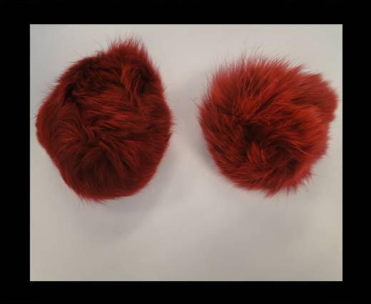 Rabbit Fur Pom Pom-Wine Red-10cms