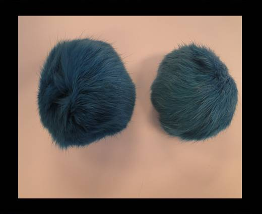 Rabbit Fur Pom Pom-Bermuda Blue-7cms