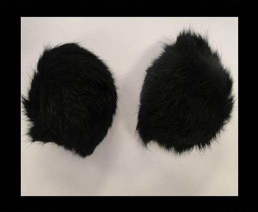 Buy Rabbit Fur Pom Pom-Black-5cms at wholesale prices