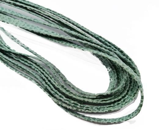 Flat Nappa Leather cords - 5mm - Raza mint paill transp