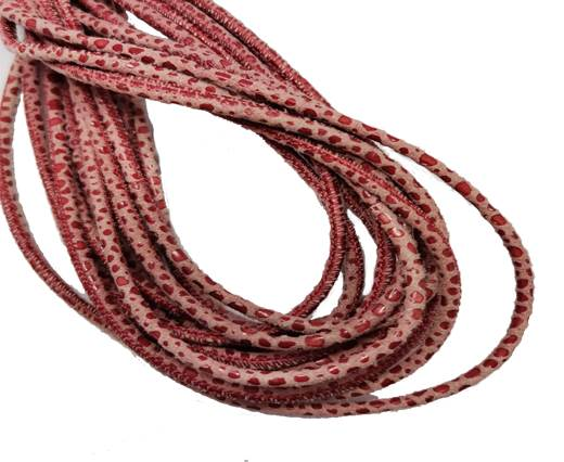 Round Stitched Leather Cord - 3mm - RAZA STYLE - RED