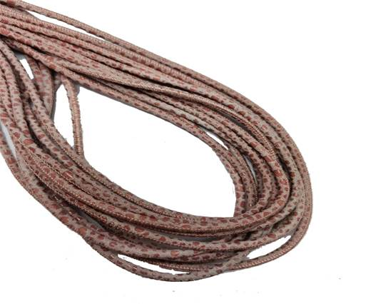 Round Stitched Leather Cord - 3mm - RAZA STYLE - SALMON