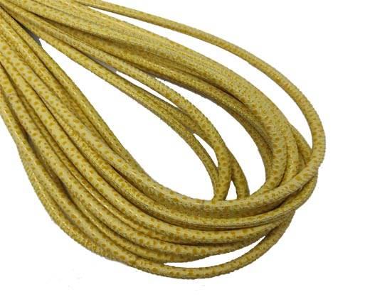 Round Stitched Nappa Leather Cord-4mm-raza style yellow