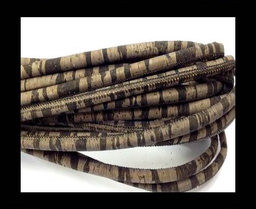 Real Cork Round - 2.5mm - Round Dark Zebra