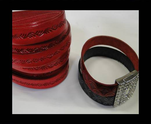 Design Embossed Leather Cord - 10mm - Ceasar style-Red